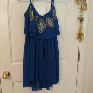Small Sequin Hearts Blue Embroidered Summer Dress